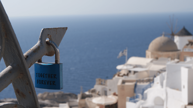 Together forever on Santorini